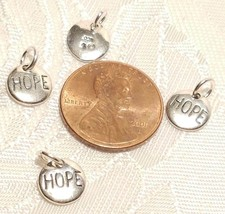 Round HOPE Charm - 925 Sterling Silver - Disk Circle Engraved Peace Love NEW image 2