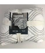 Martha Stewart Gramercy Gate King Quilt Gray $360 Embroidered - $189.30