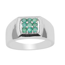 Wonderful Look !! Emerald Stone 925 Sterling Silver Ring Shine Jewelry S... - $73.89
