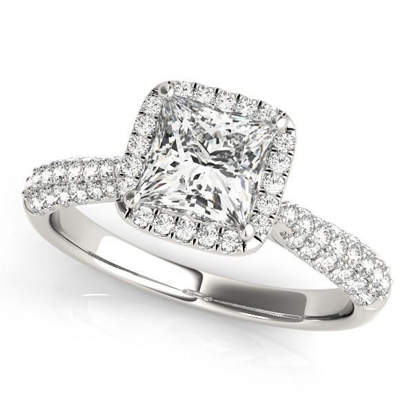 14k White Gold Halo Pave Band Diamond Engagement Ring (1 1/3 cttw)