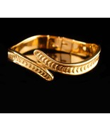 Vintage Monet Bracelet - snake wrap bangle -  hinged bracelet - gold couture  - $95.00