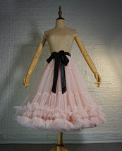Blush Pink Layered Midi Tulle Skirt Outfit Ballerina Skirt A-Line Puffy Tutus image 1