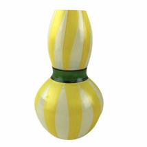Kosta Boda Yellow Striped Ribbon Gourd Vase Art Glass Ulrica Hydman Vall... - $23.05