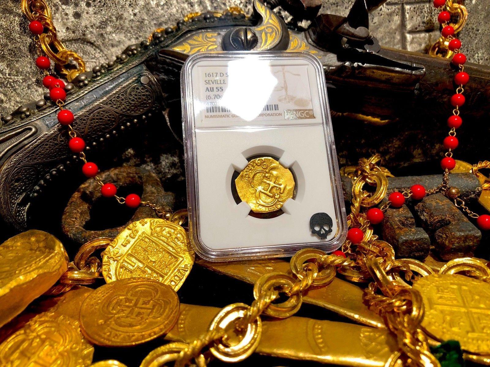 "SPAIN 2 ESCUDOS ""DATED"" 1617 ""ATOCHA ERA"" NGC 55 PIRATE GOLD COINS TREASURE COB"