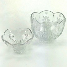 2 Holiday Christmas Tree Star Cut Clear Crystal Round Candy Dish Bowls Serving - $36.37