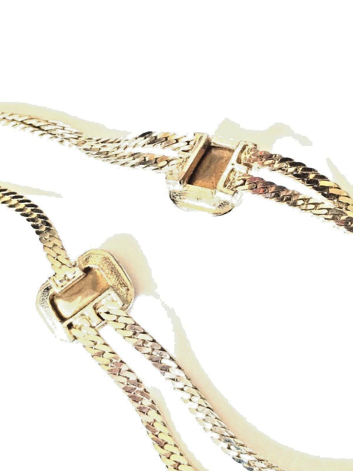 Vintage Gold Tone Amber Glass Cabochon Link Necklace And Matching Bracelet Set