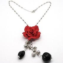 Collier Argent 925, Onyx Noir, Rose Rouge, Fleur, Chaîne Billes image 1