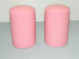 Vintage Large Salt and Pepper Shakers – Pink Color – Glazed Ceramic/Porc... - $22.50