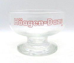 Haagen Dazs Glass Ice Cream Sundae Dessert Footed Dish Vintage - $14.24