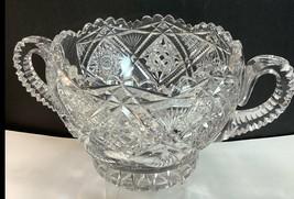 ABP cut glass ice tub Antique crystal 2 handles - $185.72
