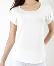 Ivory Scoop Neck Blouse with Folded Sleeves, Short Sleeve, Womens Top Shirt