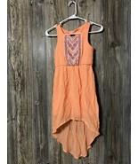 Xhilaration  Girl's Dress Size M Medium Orange High-Low Embroidered Slee... - $11.87