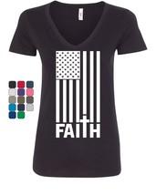 Stars and Stripes Faith Women's V-Neck T-Shirt American Values Cross Jes... - $15.94+