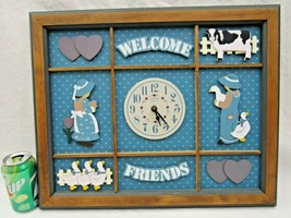 Country Goose Elgin Wall Clock Welcome Friends Hanging Wood Cow Girls Vintage  - $59.39