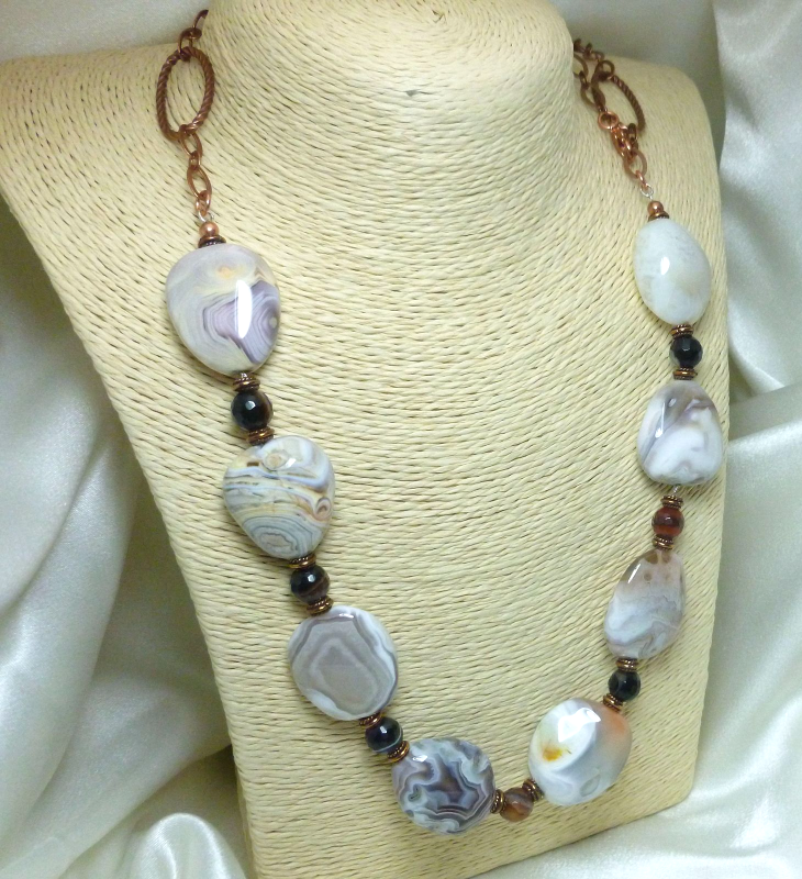 Botswana Banded Agate Nugget Copper Beaded Necklace 28 inch