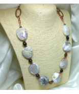Botswana Banded Agate Nugget Copper Beaded Necklace 28 inch - $42.00