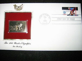 1980 WINTER OLYMPICS ICE HOCKEY 22kt Gold Stamp replica Golden Cover - $7.91