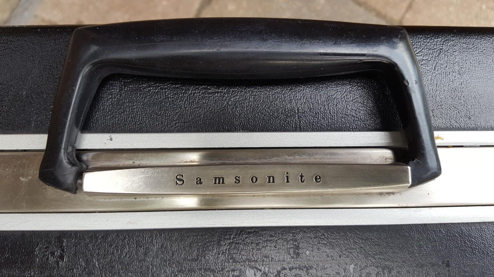Vtg SAMSONITE Briefcase-Faux Leather/Vinyl-Black-Hard Case-Pockets-Keys-Business