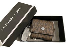 Michael Kors Unisex Airpod Earbud Case on Key Fob Brown Signature MK Gif... - $38.61