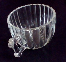 Jeanette Glass Creamer Ribbed Cup Cool Fence Post Style Handle  - $5.45