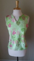 Palm Harbour Women's Green Pink Tropical Floral Stretch Tank Top Sz M,2n... - $21.50