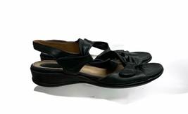 Clarks Artisan Lucena Twist Sandals Comfort Leather Ankle Strap Black Sz 9.5 M - $18.39