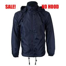 Men's Water Resistant Fleece Lined Windbreaker Rain Jacket NO HOOD Navy 4XL