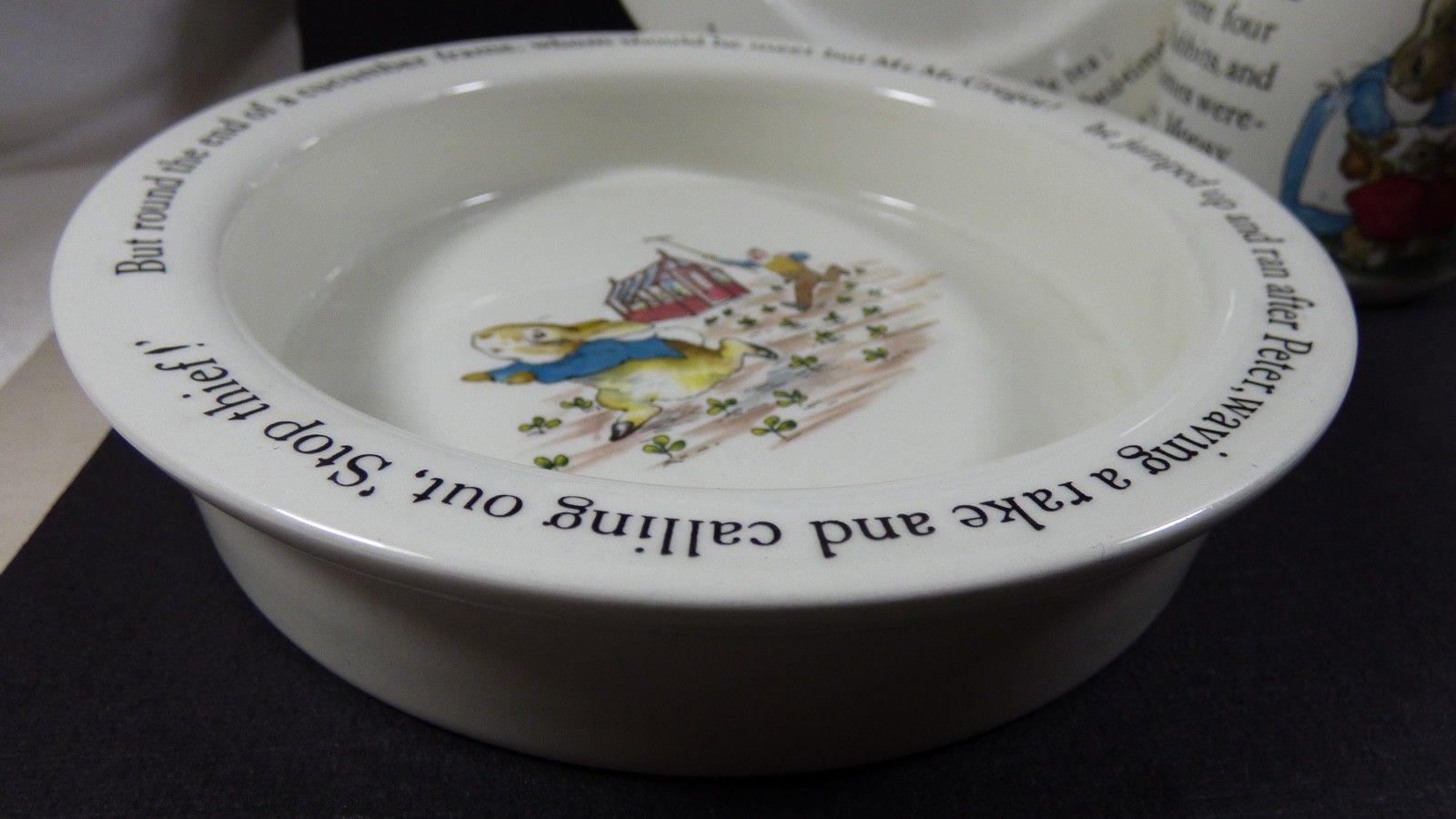 Wedgwood England Peter Rabbit Children 3 Piece Nursery story Set bowl plate cup image 2
