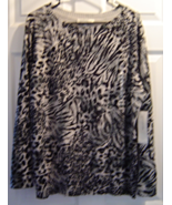 Women's Size 3X Gray/Black Leopard Print Long Sleeves Sweater NWT - $49.99