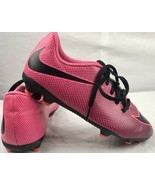 Nike Soccer Cleats Youth Size 4 Neon Pink & Black Lace Up - $26.99