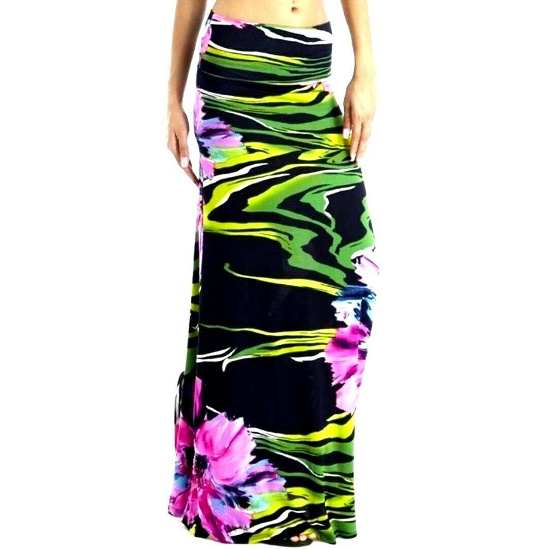 Womens Purple Floral High Waist Slim Fit Long Maxi Skirt S M image 1
