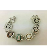 "VTG Sarah Coventry Bracelet Multi Colored Stones Rhodium Plated 7"" - $22.76"