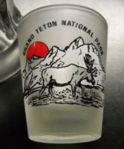 Grand Teton National Park Shot Glass Frosted Glass Red Sun Mountains Moose - $6.99