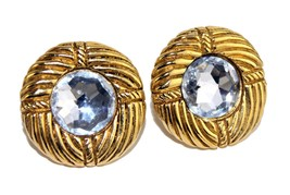 Auth Chanel Paris Gold Tone with Crystal Earrings Ear Ring Accessories Vintage - $197.01