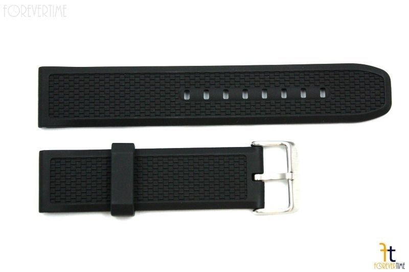 Primary image for 22mm Texture Italian Heavy Black Rubber Watch BAND Strap FIT LUMINOX S/S Buckle