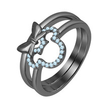 0.20 ct Round Cut Aquamarine 14K Black Gold Over 925 Silver Mickey Mouse Ring   - $72.24