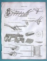 AGRICULTURE Farming Plows Rakes Cutters Ploughs - 1797 Copperplate Print - $10.71