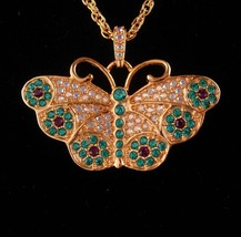 Stunning Butterfly Watch necklace - Brilliant rhinestones - Suzanne Bjon... - $110.00