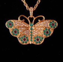 Stunning Butterfly Watch necklace - Brilliant rhinestones - Suzanne Bjontegard - - $110.00