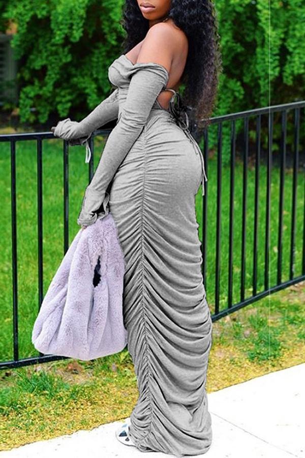 Trendy Backless Grey Ankle Length Dress image 3