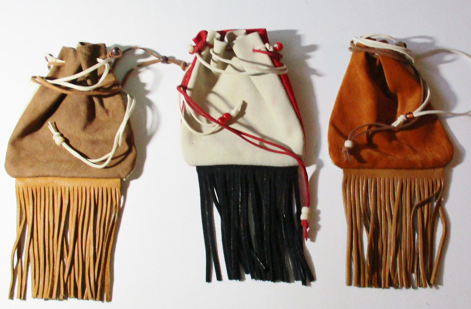 American Made! Two Toned Medicine Bags Leather Baby Soft, Hand Crafted Crow Bead