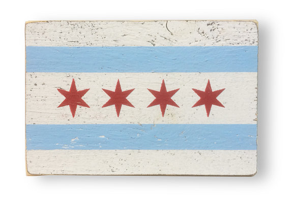 Chicago Flag - Rustic Wooden Sign  7 x 11 -Chicago Flag Rustic Sign -Item 2222 *