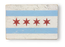Chicago Flag - Rustic Wooden Sign  7 x 11 -Chicago Flag Rustic Sign -Ite... - $24.00