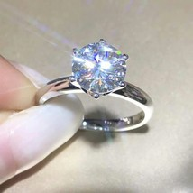 2Ct Round Brilliant Cut Diamond Solitaire Engagement Ring In 14K White G... - $74.80