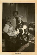 Vintage Photograph Mom & Children Celebrating New Year's Eve 1963  Noise... - $6.93