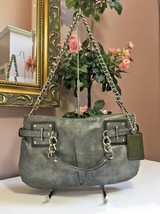 Coach Evening Bag 14342 Brooke Dusted Suede Gunmetal Grey Silver Chain B... - $89.09