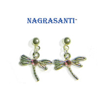 Nagrasanti SS Dragonfly/Pink Crystal Post Earrings - £11.47 GBP