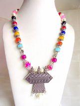 Indian Designer Oxidized Pendant Pearls Necklace Women's Ethnic Fashion Jewelry image 4