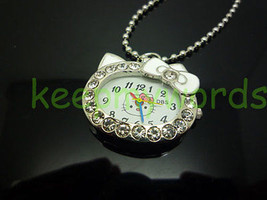Cat Crystal Pendant Quartz Pocket Necklace Watch Montre Reloj Orologio W... - $9.90