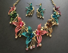 Colorful flowers necklace, wedding bridal necklace, rhinestones crystals... - $48.88